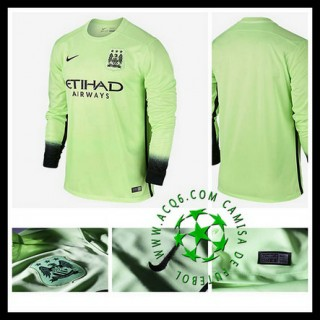 Camisa Manchester City Manga Longa 2015-2016 Iii Masculina