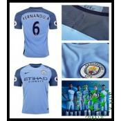 Uniforme De Futebol Manchester City Fernando 2016 2017 I Masculina