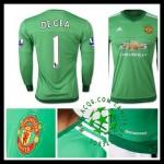 Camisas Futebol Manchester United (1 De Gea) Manga Longa 2015/2016 I Goleiro