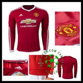 Uniforme Futebol Manchester United Manga Longa 2015/2016 I Masculina