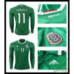 Jogos Camisa Futebol Manga Longa Carlos V México Masculina 2016/2017 I Mais Barato Online