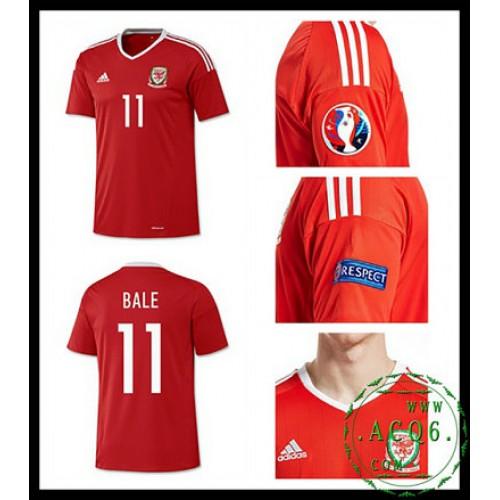 d514713ad3bbc Verdadeiro Camisa Futebol Bale País De Gales Masculina Euro 2016 2017 I Loja  On-Line