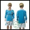 Manchester City Camisa Du Futebol Manga Longa 2015-2016 I Infantil