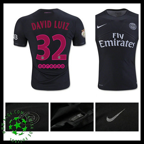 Uniformes Futebol Paris Saint Germain David Luiz 2015 2016 Iii Masculina b8f474a3e452e
