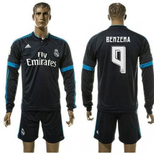 8b17d0efae Real Madrid Uniforme De Futebol Benzema Manga Longa 2015/2016 Iii Masculina