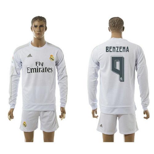 4a52b55fb7 Real Madrid Uniformes De Futebol Benzema Manga Longa 2015-2016 I Masculina