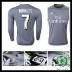 Camisas Futebol Real Madrid (7 Ronaldo) Manga Longa 2015 2016 Ii Masculina