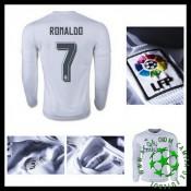 Camisas De Futebol Real Madrid (7 Ronaldo) Manga Longa 2015-2016 I Masculina
