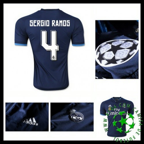 9bf0381e68 Camisas Futebol Real Madrid (4 Sergio Ramos) 2015-2016 Iii Masculina ...