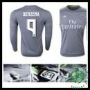 Camisa Futebol Real Madrid (9 Benzema) Manga Longa 2015-2016 Ii Masculina