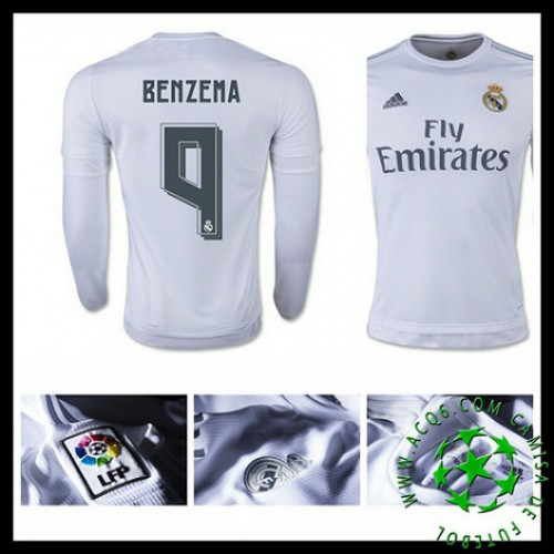 e74fb7a53b Camisas Futebol Real Madrid (9 Benzema) Manga Longa 2015/2016 I Masculina