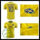 Camisa De Futebol (10 Ibrahimovic) Suécia Autêntico I Euro 2016 Masculina