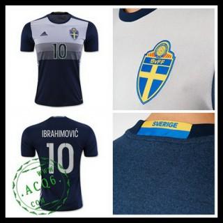 Camisas De Futebol (10 Ibrahimovic) Suécia Autêntico Ii Euro 2016 Masculina