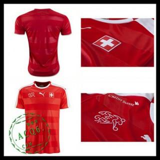 Camisa Futebol Suíça Autêntico I Euro 2016 Masculina
