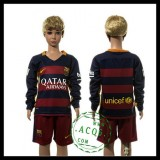 Barcelona Camisa De Futebol Manga Longa 2015/2016 I Infantil
