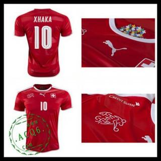 Camisas De Futebol (10 Xhaka) Suíça Autêntico I Euro 2016 Masculina