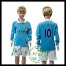 Manchester City Camisas Du Futebol Kun Aguero Manga Longa 2015 2016 I Infantil