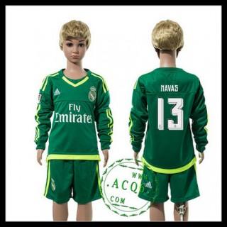 Real Madrid Camisa De Futebol Navas Manga Longa Goleiro 2015-2016 Ii Infantil