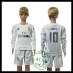 Real Madrid Camisa Futebol James Manga Longa 2015/2016 I Infantil