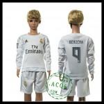 Real Madrid Camisas De Futebol Benzema Manga Longa 2015 2016 I Infantil