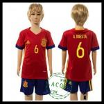 Espanha Camisas De Futebol A.Iniesta Euro 2016 I Infantil
