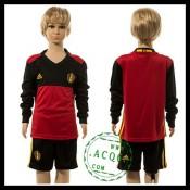 Bélgica Camisas Du Futebol Manga Longa Euro 2016 I Infantil