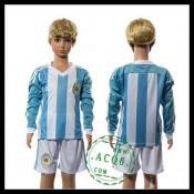 Argentina Camisas Futebol Manga Longa 2015/2016 I Infantil