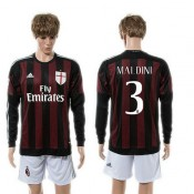 Ac Milan Camisa Futebol Maldini Manga Longa 2015/2016 I Masculina