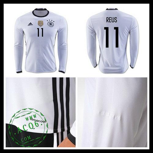 157b93677eb9b Camisa Du Futebol (11 Reus) Alemanha Autêntico I Manga Longa Euro 2016  Masculina