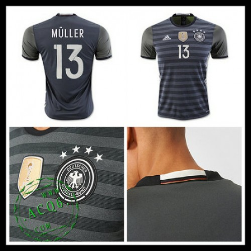 Camisas De Futebol (13 Muller) Alemanha Autêntico Ii Euro 2016 Masculina 2833b9f36c115