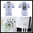 Camisa De Futebol (18 Kroos) Alemanha Autêntico I Euro 2016 Masculina