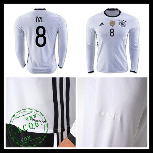 8d9f4814fc Camisa De Futebol (8 Ozil) Alemanha Autêntico I Manga Longa Euro 2016  Masculina