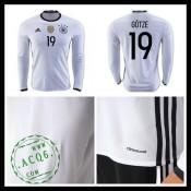 Camisas (19 Gotze) Alemanha Autêntico I Manga Longa Euro 2016 Masculina