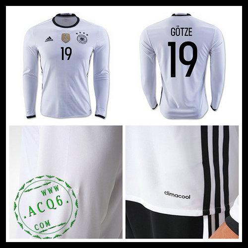 Camisas (19 Gotze) Alemanha Autêntico I Manga Longa Euro 2016 Masculina ce16e756d8258