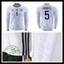 Camisas Futebol (5 Hummels) Alemanha Autêntico I Manga Longa Euro 2016 Masculina
