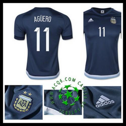 Novo Uniformes Futebol Aguero Argentina Masculina 2016 2017 Ii On-Line fe98a1be45461