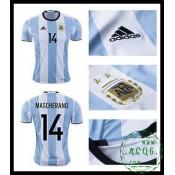 De Vendas Camisa De Futebol Mascherano Argentina Masculina 2016-2017 I Loja On-Line