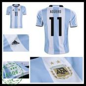 Camisas Futebol Argentina Aguero 2016 2017 I Masculina 84b87bb629541