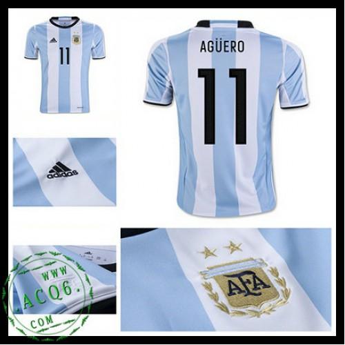 Camisas Futebol Argentina Aguero 2016 2017 I Masculina - camisolas ... 9bc9e89cc98dc