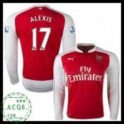 Criar A Sua Própria Camisa Manga Longa Alexis Arsenal Masculina 2015-2016 I Loja On-Line