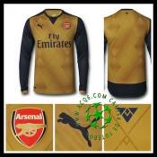 Camisa De Futebol Arsenal Manga Longa 2015 2016 Ii Masculina