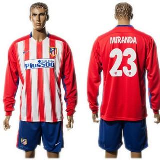 Atlético De Madrid Camisas Du Futebol Miranda Manga Longa 2015 2016 I Masculina