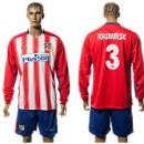 Atlético De Madrid Camisa De Futebol Kasmirsk Manga Longa 2015 2016 I Masculina