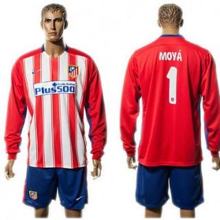 Atlético De Madrid Camisa Du Futebol Moya Manga Longa 2015-2016 I Masculina