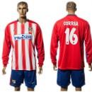 Atlético De Madrid Camisas Correa Manga Longa 2015 2016 I Masculina