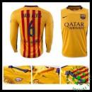 Camisas Futebol Barcelona (6 Dani Alves) Manga Longa 2015 2016 Ii Masculina
