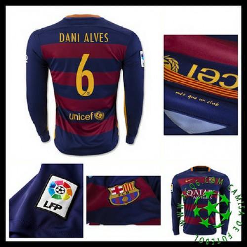 bd9823addc Camisas De Futebol Barcelona (6 Dani Alves) Manga Longa 2015-2016 I  Masculina