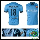 Camisas De Futebol Barcelona (18 Jordi Alba) 2015 2016 Iii Masculina