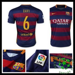 Camisa De Futebol Barcelona (6 Xavi) 2015/2016 I Masculina