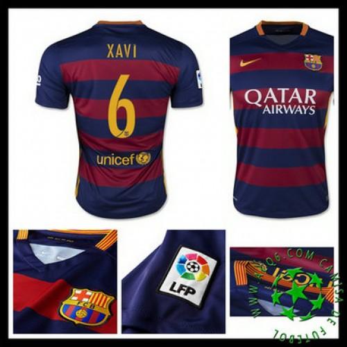 95629684189a0 Camisa De Futebol Barcelona (6 Xavi) 2015 2016 I Masculina ...